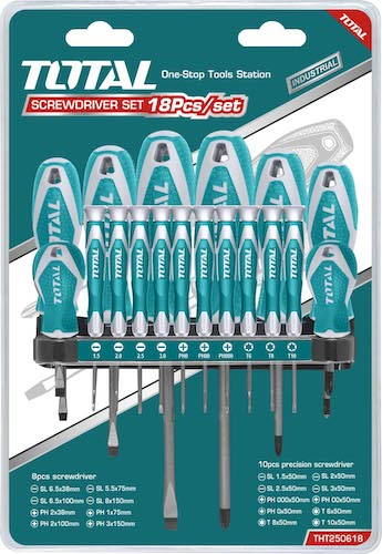 Set destornilladores indust x 18 THT250618 Total